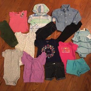 Girls 12 Month 14 Piece Bundle Of Tops, Pants, Etc
